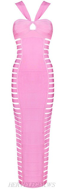 Herve Leger Pink Halter Cut Out Bandage Gown