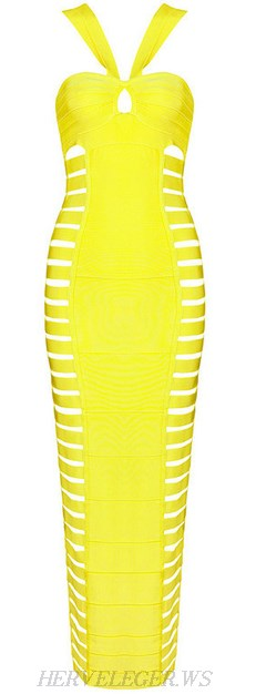 Herve Leger Yellow Halter Cut Out Bandage Gown