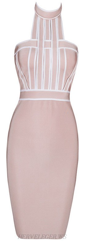 Herve Leger Nude And White Halter Geometric Dress