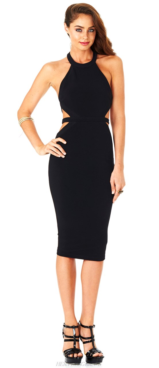 Herve Leger Black Halter Strap Cutout Dress