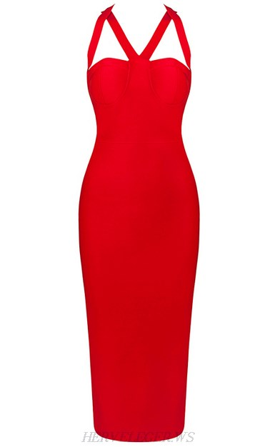 Herve Leger Red Halter Strappy Bandage Dress