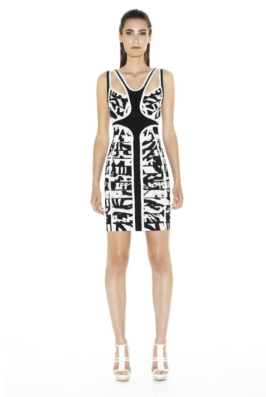 Herve Leger Black And White Art Printed Cutout Bandage Dress