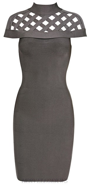 Herve Leger Grey High Neck Cap Sleeve Cut Out Bandage Dress