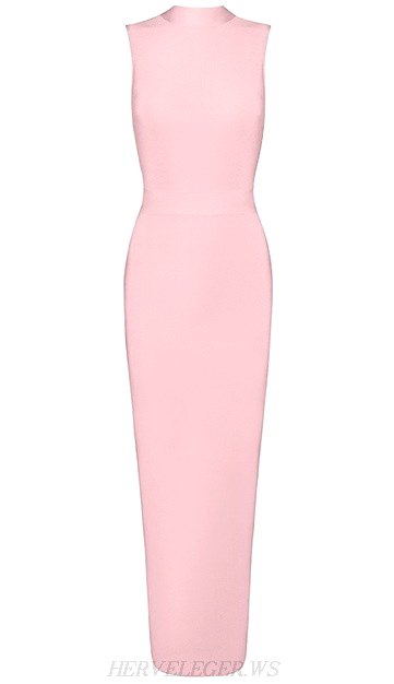 Herve Leger Pink High Neck Maxi Gown