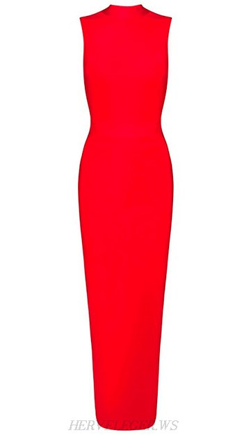 Herve Leger Red High Neck Maxi Gown