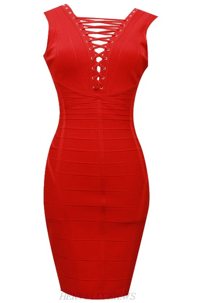 Herve Leger Red Lace Up Detail Dress