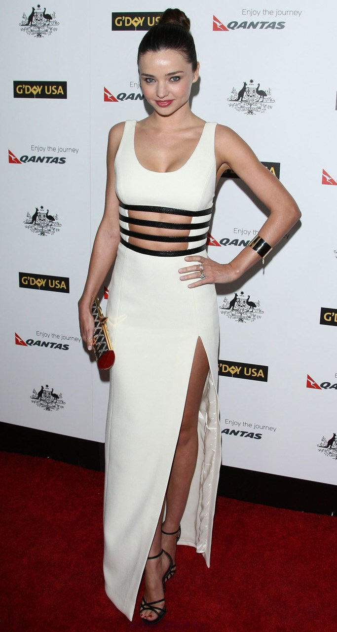 Herve Leger White Leather Trim Cut Out Slit Gown