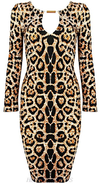 Herve Leger Long Sleeve Animal Print Cut Out Bandage Dress