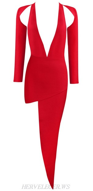 Herve Leger Red Long Sleeve Asymmetrical Gown