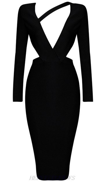 Herve Leger Black Long Sleeve Asymmetrical Bandage Dress