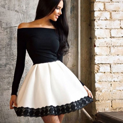 Herve Leger Black And White Long Sleeve Bardot Lace A Line Dress