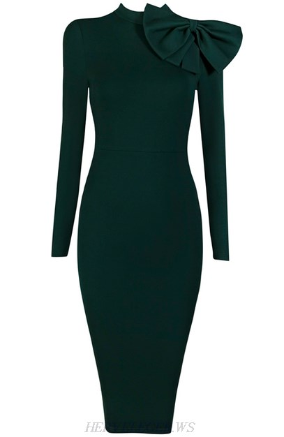 Herve Leger Green Long Sleeve Bow Detail Dress