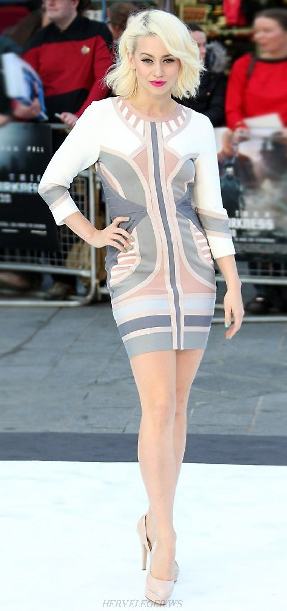 Herve Leger Pink And Grey Long Sleeve Colorblock Bandage Dress