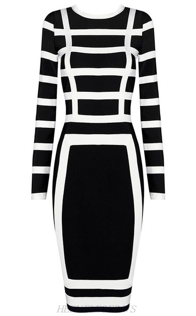 Herve Leger Black And White Long Sleeve Contrast Midi Bandage Dress