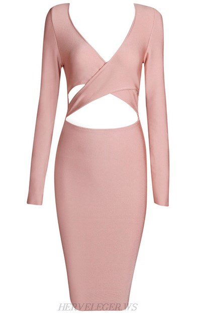 Herve Leger Nude Long Sleeve Cross Over Cut Out Dress