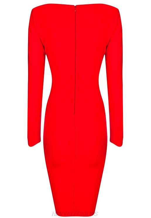Herve Leger Red Long Sleeve Cross Over Cut Out Dress