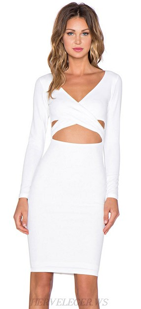 Herve Leger White Long Sleeve Cross Over Cut Out Dress