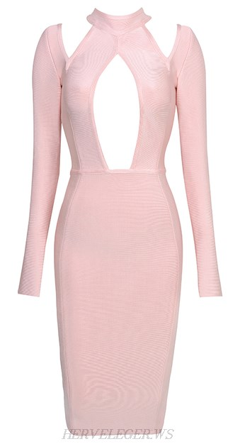 Herve Leger Pink Long Sleeve Cut Out Dress