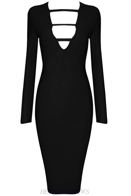 Herve Leger Black Long Sleeve Cut Out Plunge V Neck Dress