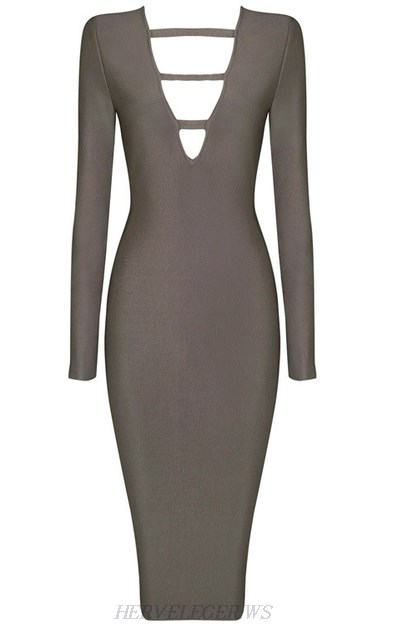 Herve Leger Grey Long Sleeve Cut Out Plunge V Neck Dress