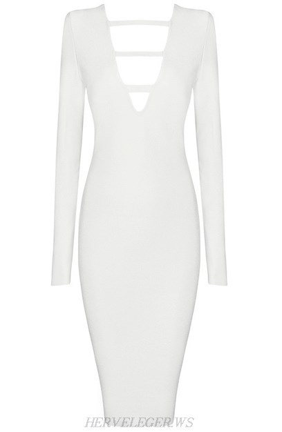 Herve Leger White Long Sleeve Cut Out Plunge V Neck Dress