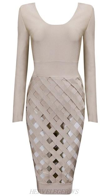 4b08f991 Herve Leger Nude Long Sleeve Cut Out Skirt Dress