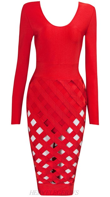 Herve Leger Red Long Sleeve Cut Out Skirt Dress
