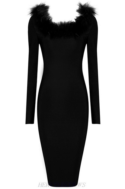 Herve Leger Black Long Sleeve Faux Fur Dress