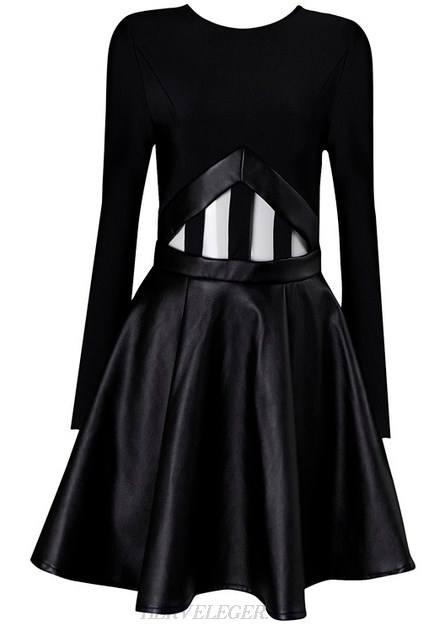 Herve Leger Black Long Sleeve Faux Leather Cut Out Skater Dress