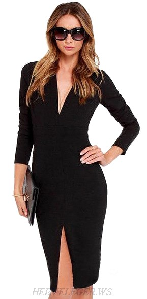 Herve Leger Black Long Sleeve Front Slit Dress