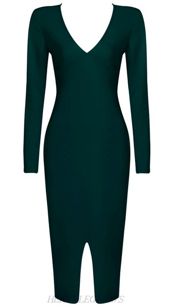 Herve Leger Green Long Sleeve Front Slit Dress