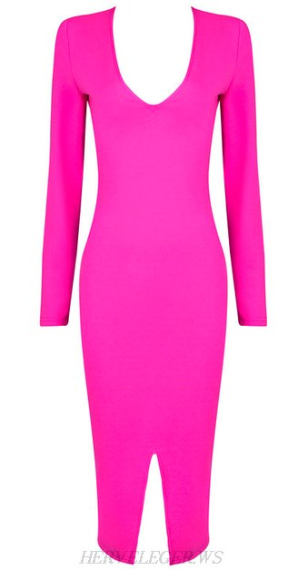Herve Leger Hot Pink Long Sleeve Front Slit Dress
