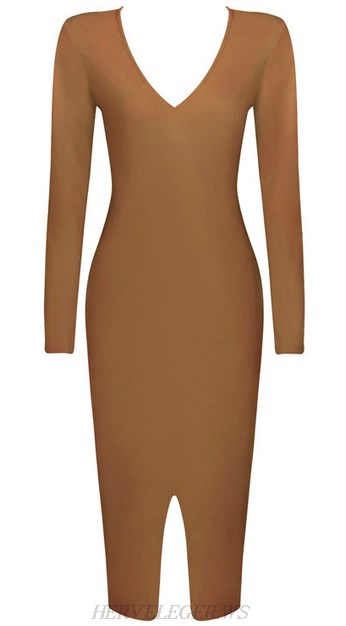 Herve Leger Long Sleeve Front Slit Midi Bandage Dress Moka