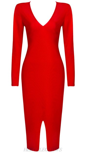 Herve Leger Red Long Sleeve Front Slit Dress