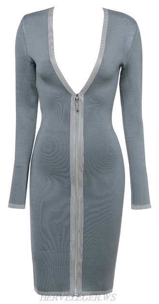 Herve Leger Grey Long Sleeve Front Zipper Bandage Dress