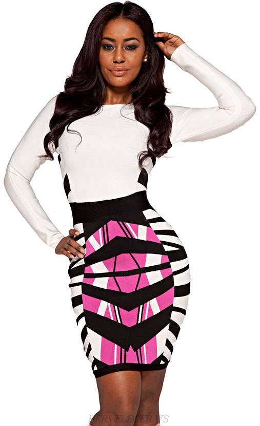 Herve Leger White Pink Long Sleeve Geo Print Bandage Dress