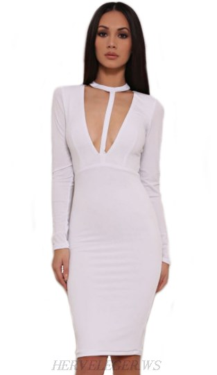 Herve Leger White Long Sleeve Halter Plunge V Neck Dress