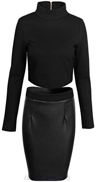 Herve Leger Black Long Sleeve High Neck Faux Leather Dress