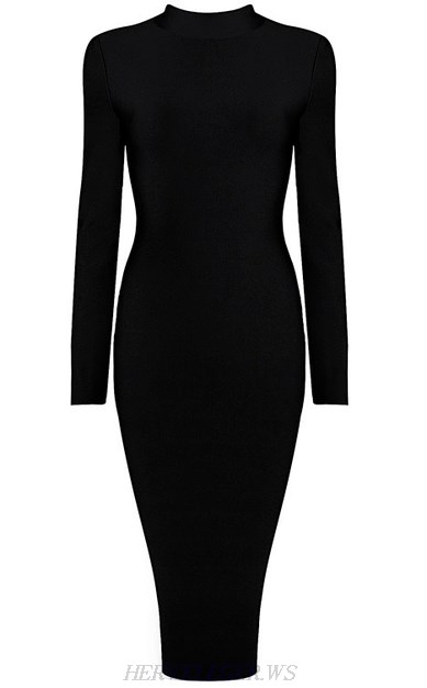 Herve Leger Black Long Sleeve High Neck Dress