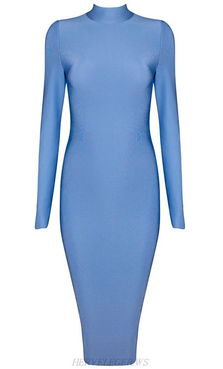 Herve Leger Blue Long Sleeve High Neck Dress