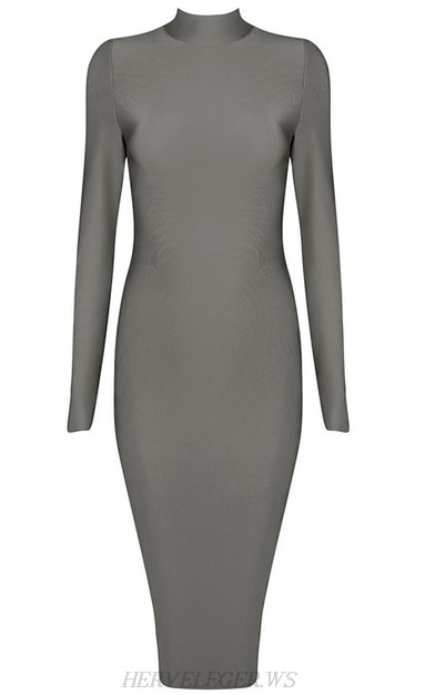 Herve Leger Grey Long Sleeve High Neck Bandage Dress