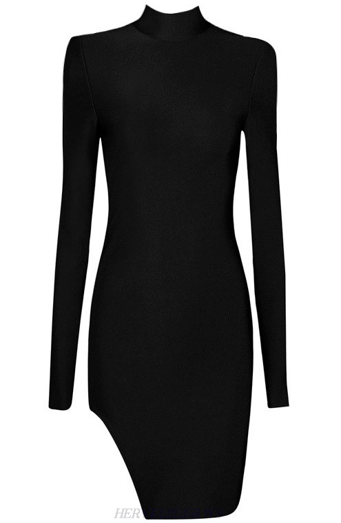 Herve Leger Black Long Sleeve High Neck Slit Dress