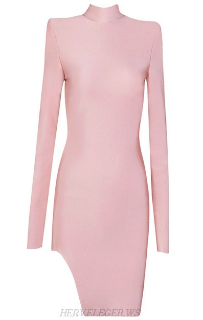 Herve Leger Pink Long Sleeve High Neck Slit Dress