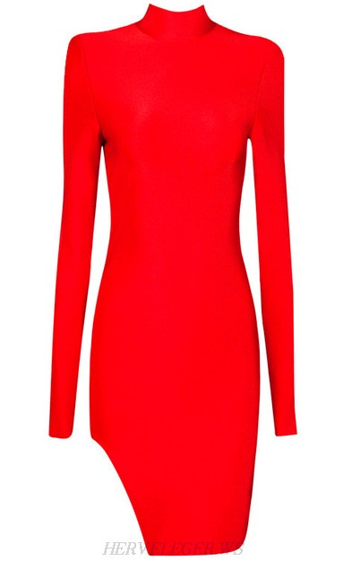 Herve Leger Red Long Sleeve High Neck Slit Dress