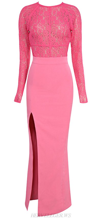 Herve Leger Pink Long Sleeve Lace Slit Gown