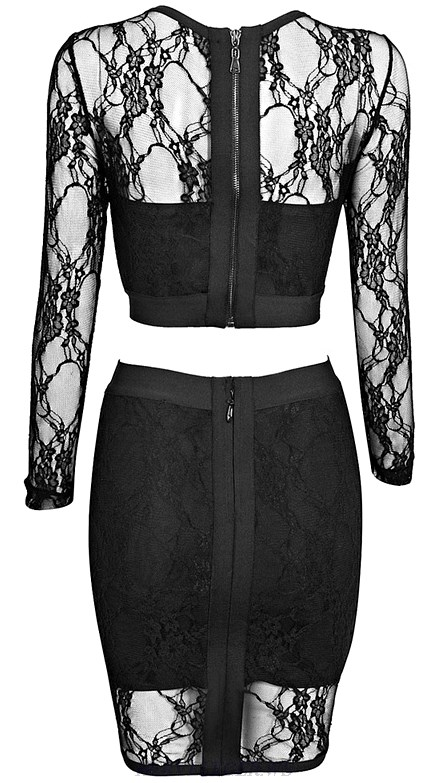 Herve Leger Black Long Sleeve Lace Two Piece Bandage Dress