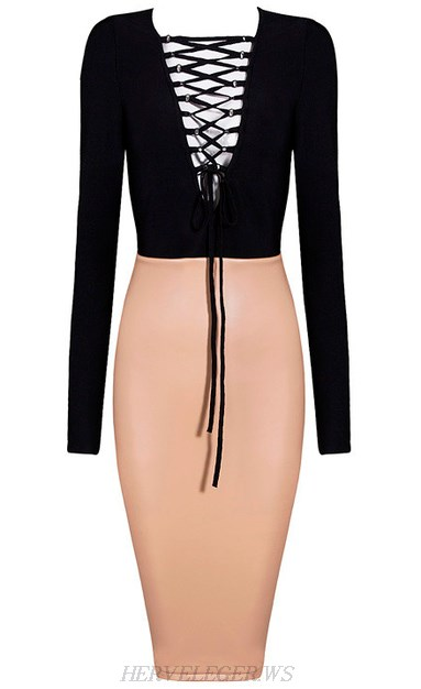 Herve Leger Black And Nude Long Sleeve Lace Up Faux Dress