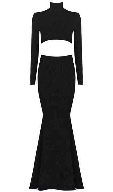 Herve Leger Black Long Sleeve Lace Up Mermaid Gown