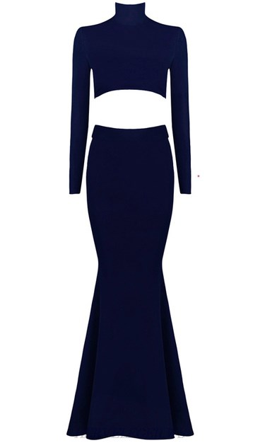 Herve Leger Blue Long Sleeve Lace Up Mermaid Gown