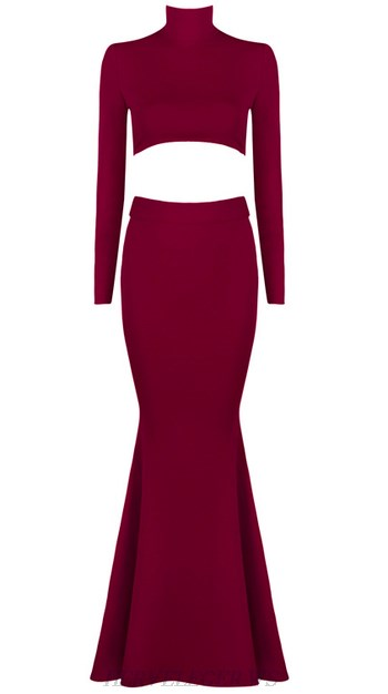 Herve Leger Burgundy Long Sleeve Lace Up Mermaid Gown